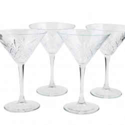 Set 4 pahare martini Fiorela, Pasabahce, 17.2 cm, sticla, transparent