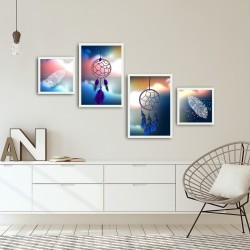 Set 4 tablouri decorative, Alpha Wall, Dream Catcher, 30x30/35x50 cm