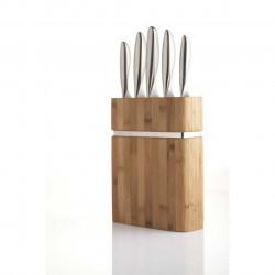 Set 5 cutite cu suport, Amefa, Forme, inox/lemn, argintiu/natur