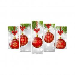 Set 5 tablouri decorative, Christmas 5PMDFNOEL-8, multicolor, 20x40/20x50/20x60 cm