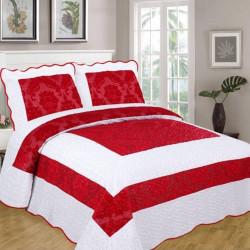 Set Cuvertura de Pat din Catifea + 2 Fete de Perna, Pat 2 Persoane, Red White - CCC-14