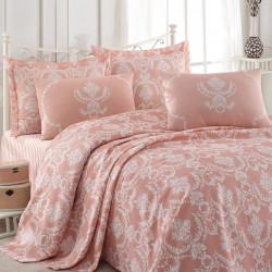 Set cuvertura de pat dubla, Epoj Home, Pure Powder, 4 piese, 100% bumbac, roz/alb