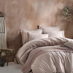 Set lenjerie de pat + cuvertura pentru doua persoane Nature - Beige, Cotton Box, 5 piese, bumbac ranforce, bej