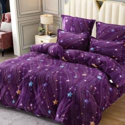 Set Lenjerie Pufoasa Cocolino cu 2 Fete, 6 Piese, Pat 2 Persoane, Purple Galaxy, LCJ6-23