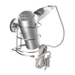 Suport pentru uscator de par WENKO Vacuum-Loc®, fara gaurire si insurubare, 13 x 13.5 x 13.5 cm, otel, argintiu