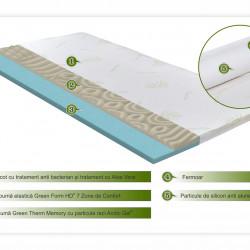 Topper saltea Aloe Vera Therapy Memory Arctic Gel 7 zone de confort, Green Future, 120x190 cm