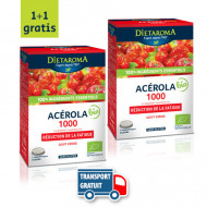 2 x ACEROLA 1000 ECO - 48 comprimate, 12 comprimate x 4 tuburi, gust placut, sustine sistemul imunitar, reduce oboseala