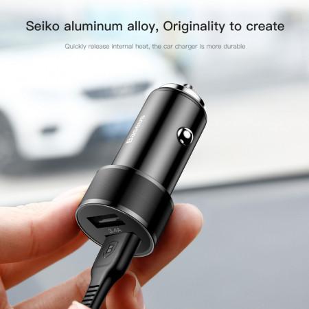 Incarcator auto telefon, Baseus Dual USB, 3.4A cu Cablu Lightning, TZXLD-A01