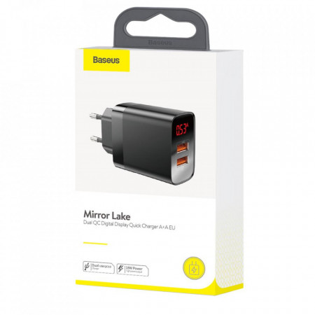 Incarcator Universal Telefon, pentru retea, Baseus Mirror Lake Quick Charger 2 x USB Display, 18W, Black Cutie