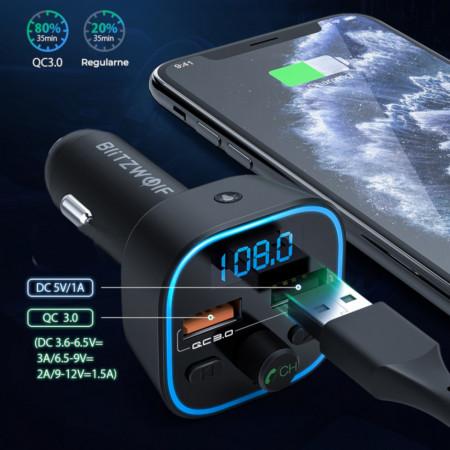 Modulatorf FM Incarcator Blitzwolf BW-BC1, Bluetooth 5.0, USB Charger, USB Audio, Micro SD Foto 2 Frami Power