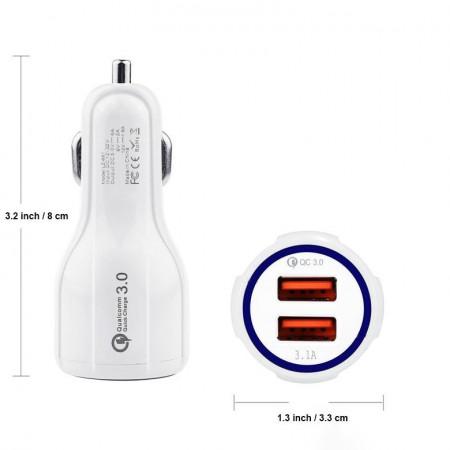 Incarcator Auto Telefon Smart Charger, Qualcomm QC3.0, 2 x USB, Foto 2