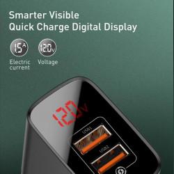 Incarcator Universal Telefon, pentru retea, Baseus Mirror Lake Quick Charger 2 x USB Display, 18W, Black Foto Detaliu
