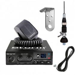 Kit Statie Radio CB Storm Discovery 3 cu ASQ, + Antena Sirio Snake + Suport Inox L 27 Prindere Fixa
