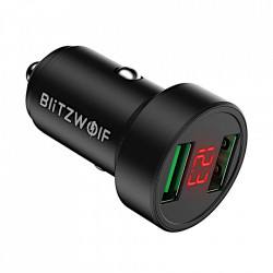 Incarcator Auto Blitzwolf BW-SD6, Dual USB, Fast Charge Qulacomm QC3.0, 24W, Negru