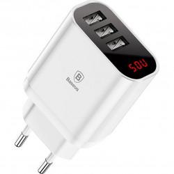 Incarcator Universal Telefon, pentru retea, Baseus Mirror Lake Intelligent Triplu USB, 3.4A, White