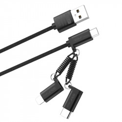 Cablu incarcare 3 in 1 Fast Charge, Micro USB/Tip C/Lightning la USB, Golf 2.4A