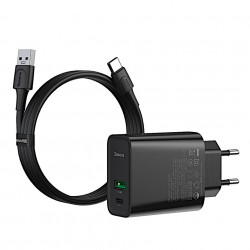Incarcator Priza Baseus PPS Quick Charger, Mufa USB-C + Mufa USB, 30W incarcare rapida, cablu inclus, TZCCFS-H01
