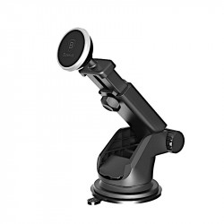 Suport Auto Telefon Baseus Telescopic, Universal Magnetic Car Holder, Solid Series, Argintiu