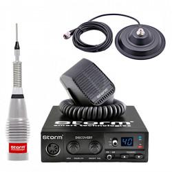 Statie Radio CB Storm DISCOVERY III ASQ cu Antena Storm ML145 Turbo Silver, 155 cm