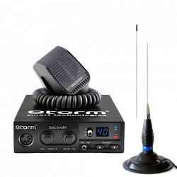 Kit Statie Radio CB Storm Discovery III ASQ, + Antena Megawat ML145 Black lungime 147cm + Baza Magnetica Megawat 145PL