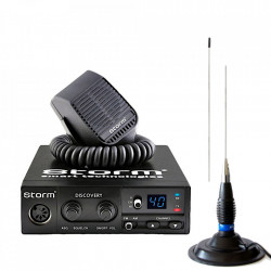 Kit Statie Radio CB Storm Discovery V3, ASQ, + Antena Megawat ML145 Black, 147cm