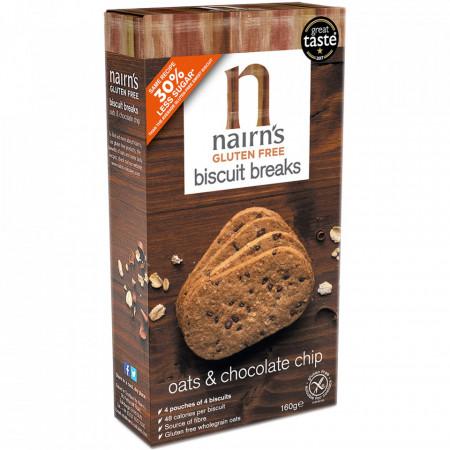 Fursecuri din ovaz integral cu bucati de ciocolata 160g Nairn's