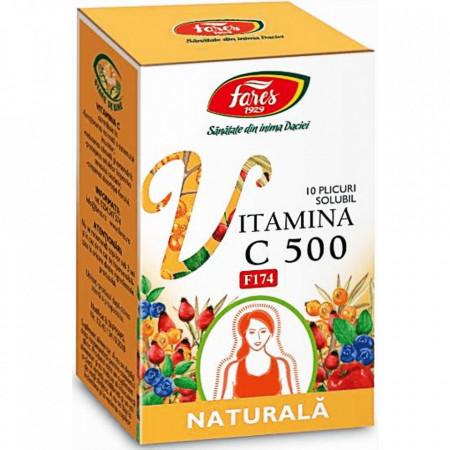 Vitamina C 500 naturala solubil 10 plicuri Fares
