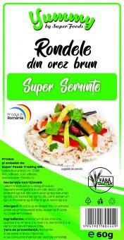 Rondele orez brun super seminte 60g Super Foods