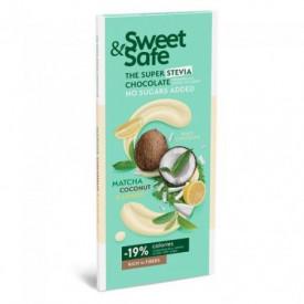 Sweet & Safe ciocolata alba cu matcha cocos 90gr