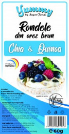 Rodele orez brun Chia si Quinoa 60g Super Foods