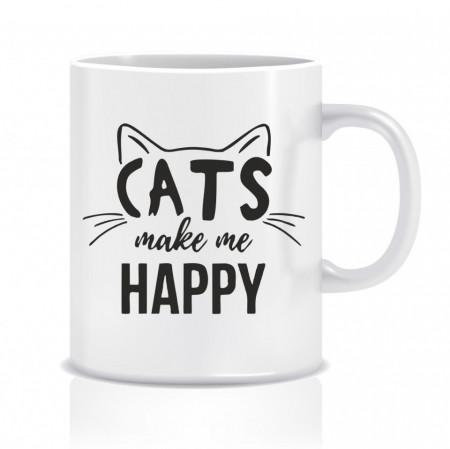 Cana personalizata Cats make me happy