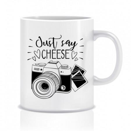 Cana personalizata pentru fotograf - Just say cheese