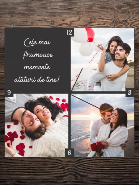 Ceas patrat personalizat cu trei fotografii si text