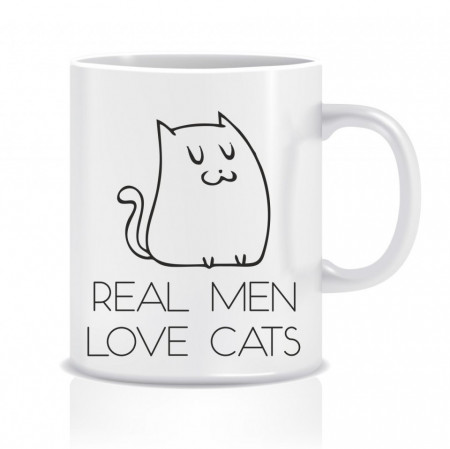 Cana personalizata - Real men, love cats!