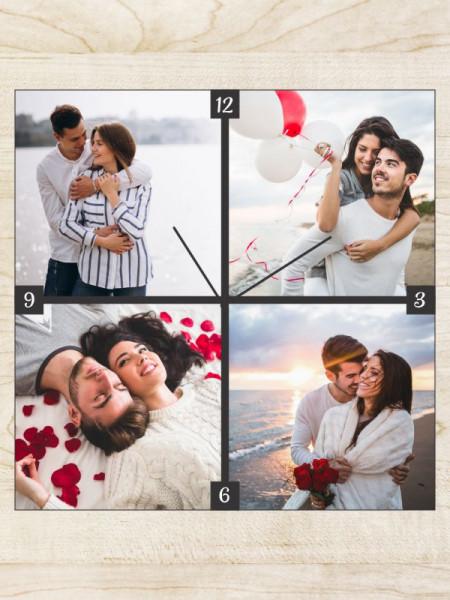 Ceas patrat personalizat cu patru fotografii
