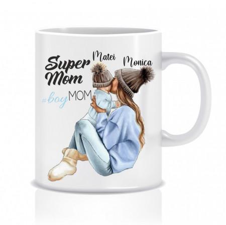 Cana personalizata SuperMOM - boymom