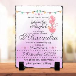 Piatra personalizata pentru nou nascut fata