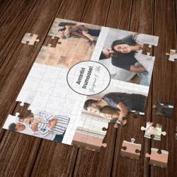 Puzzle personalizat cu 4 fotografii si text - A4