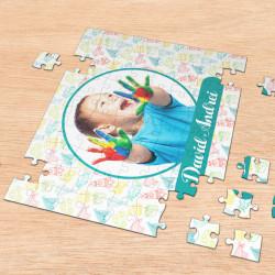Puzzle personalizat cu o fotografie si nume baietel
