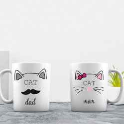 Set de 2 cani personalizate CAT MOM & CAT DAD