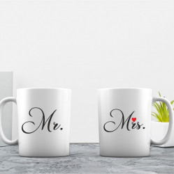 Set de 2 cani personalizate MR & MRS