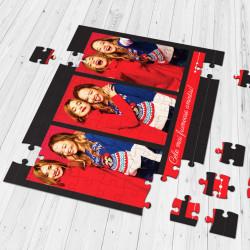 Puzzle personalizat cu 3 fotografii si text - A4