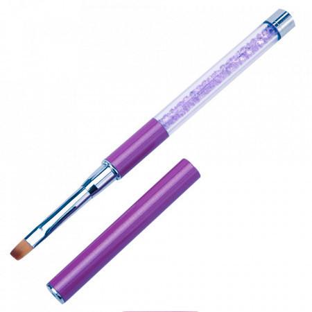 Pensula gel varf drept, coada cristale mov, nr. 4 (ch)