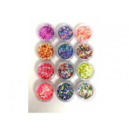 Buline confetti nail art unghii
