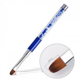 Pensula gel varf oval nr. 4 G16-5 (cristale albastre)