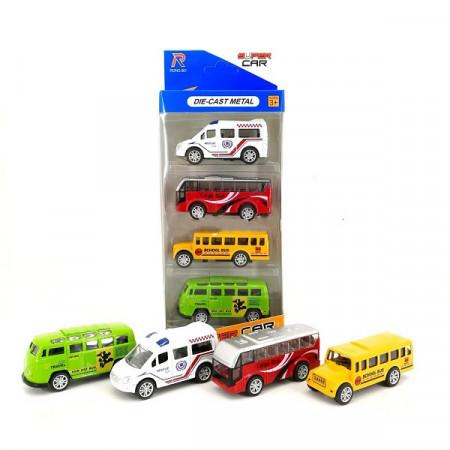 Slika Set od 4 Autića: Autobus, Kombi, Skolski Bus i Sanitet
