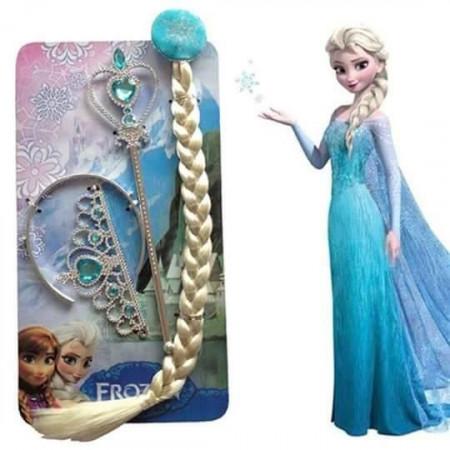 Slika Frozen Elsa set za devojčice - kruna, pletenica i čarobni štapić