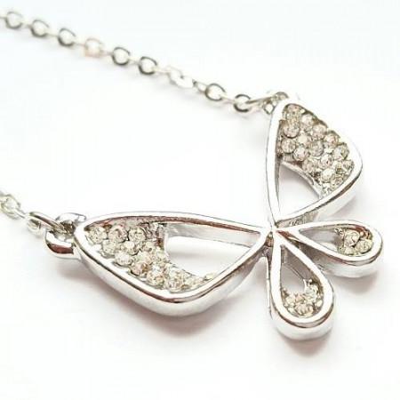 Slika Posrebrena ogrlica leptirić