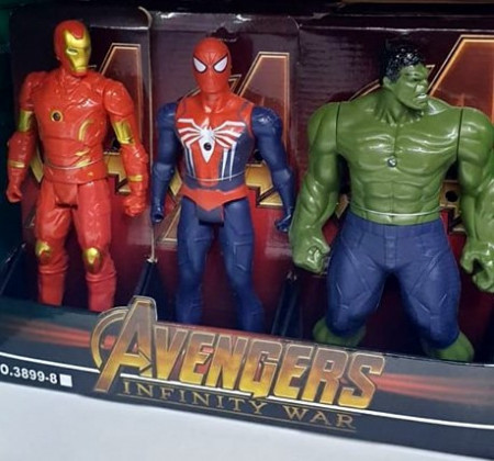 Slika Marvelove Akcione Figure - Hulk, Spiderman, Ironman.