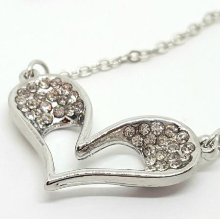 Slika Posrebrena ogrlica srculence